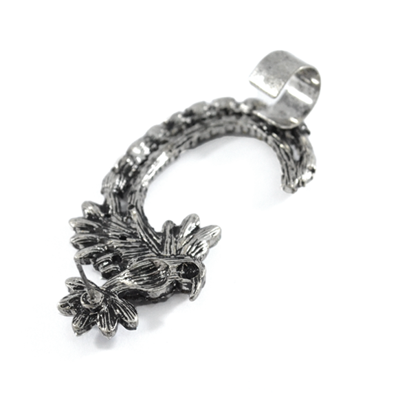 CRYSTAL LEAF AND BIRD EAR CUFF  - product image