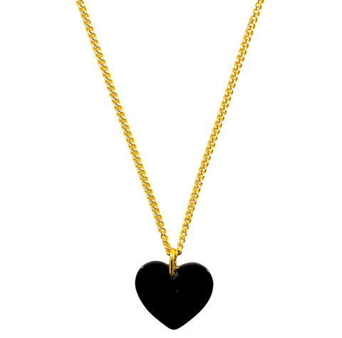 BLACK,SHINNY,HEART,NECKLACE