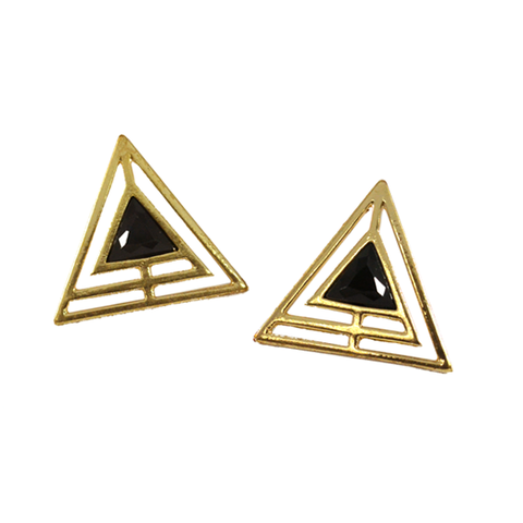 TRIANGLE,EARRINGS,CRYSTAL EARRINGS, GOLD TRIANGLE EARRINGS, TRIANGLE CRYSTAL EARRINGS