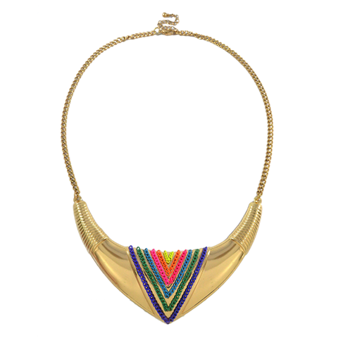 COLOURFUL,CURVED,TRIBAL,NECKLACE,CHAIN NECKLACE, CHAIN BIB NECKLACE, MULTI CHAIN BIB NECKLACE, CHAIN DECOR TUSK SHAPE PENDANT NECKLACE, TUSK BIB NECKLACE