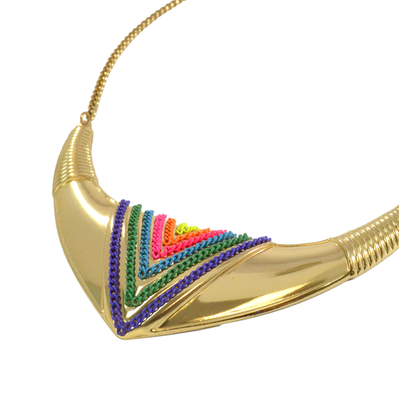 COLOURFUL CURVED TRIBAL NECKLACE - product image