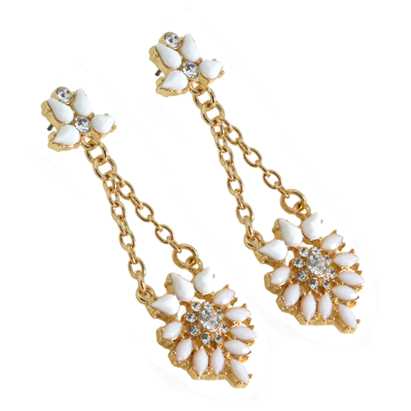 CRYSTAL FLORAL DROP EARRINGS - product image