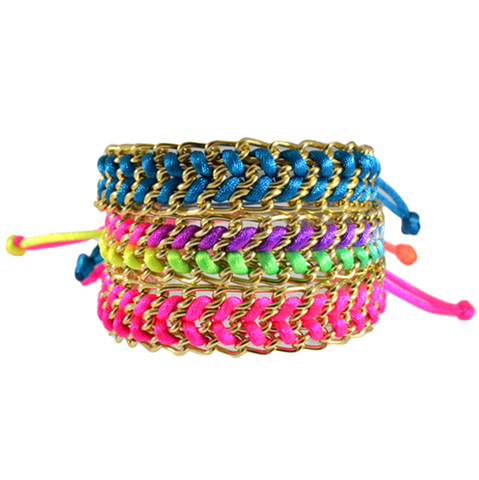 COLOURFUL,ROPE,BRACELET,ROPE AND CHAIN BRACELET, NEON PINK ROPE AND CHAIN BRACELET, NEON COLOR BRACELET, RAINBOW COLOR WOVEN ROPE AND CHAIN BRACELET, BLUE ROPE WITH CHAIN BRACELET, ROPE WITH CHAIN BRACELET