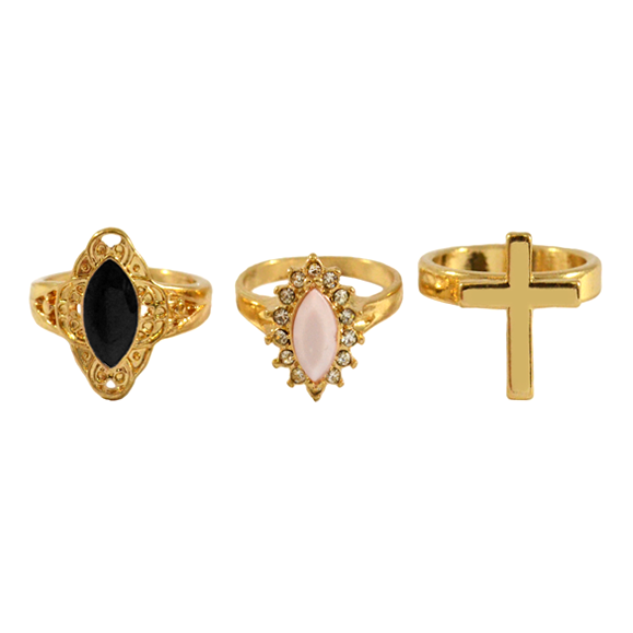 GEMSTONE AND CROSS RINGS PACK - product image