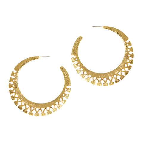 PATTERNED,CUT,HOOP,EARRINGS,GOLD HOOP EARRINGS, PATTERNED HOOP EARRINGS, GOLD TONE PATTERNED EARRINGS, ENGRAVED PATTERNED HOOP DESIGN EARRINGS