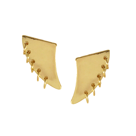 HORN,WITH,HOOPS,EARRINGS,HORN WITH RINGS EARRINGS, GOLD EARRINGS, GOLD FILM WITH RINGS EARRINGS, GOLD HORN AND RINGS EARRINGS