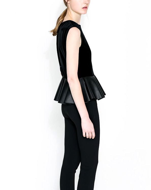 SUEDE TOP WITH PLEATED END - product image