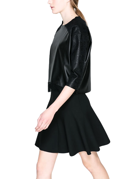 FAUX LEATHER WITH LACE TOP - product image