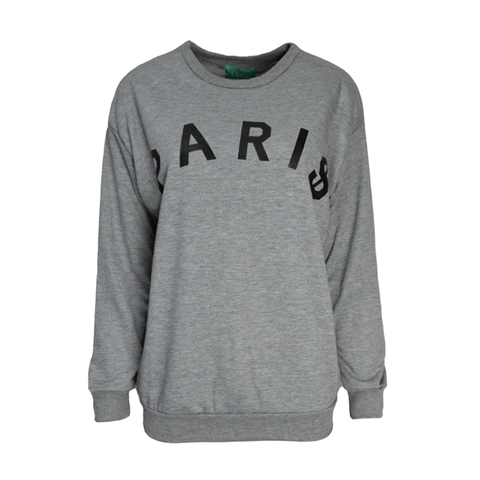 PARIS,JUMPER,PARI$ JUMPER, PARIS PRINT JUMPER, PARI$ PRINTED JUMPER, GREY PARIS JUMPER, LUCKY NUMBER JUMPER, LUCKY 3 JUMPER