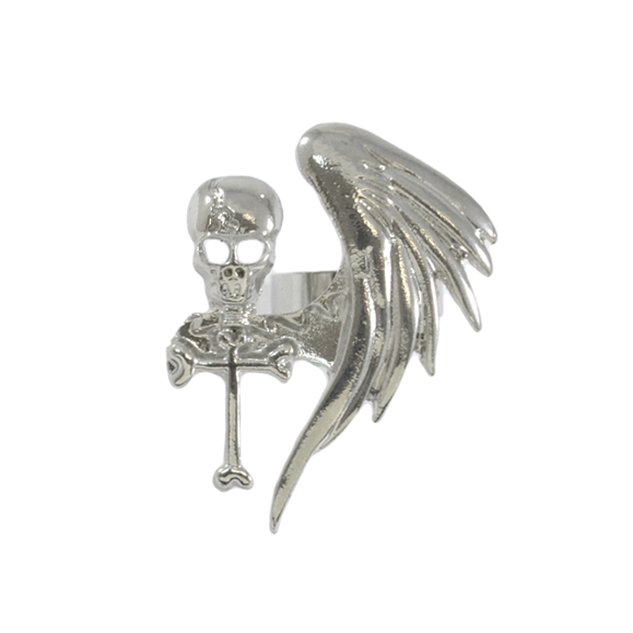 SILVER TONE SKULL WITH WING RING - product image