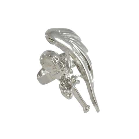 SILVER,TONE,SKULL,WITH,WING,RING