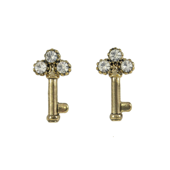 VINTAGE CRYSTAL DECOR KEY EARRINGS - product image