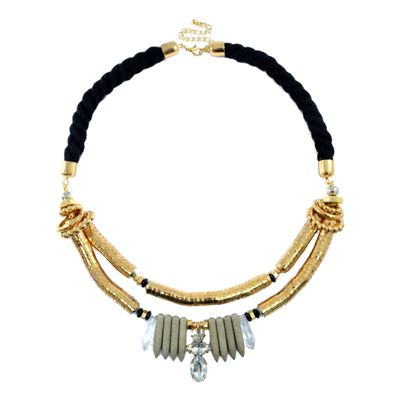 ROPE CRYSTAL AND BEADS NECKLACE - product image