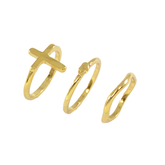 CROSS WITH HEART RINGS SET - product image