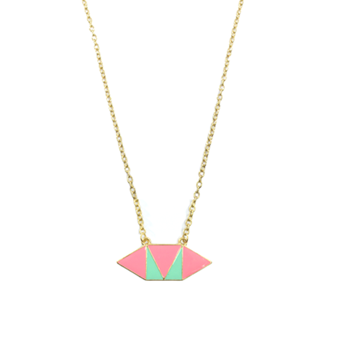 TWO,TONE,HEXAGON,NECKLACE