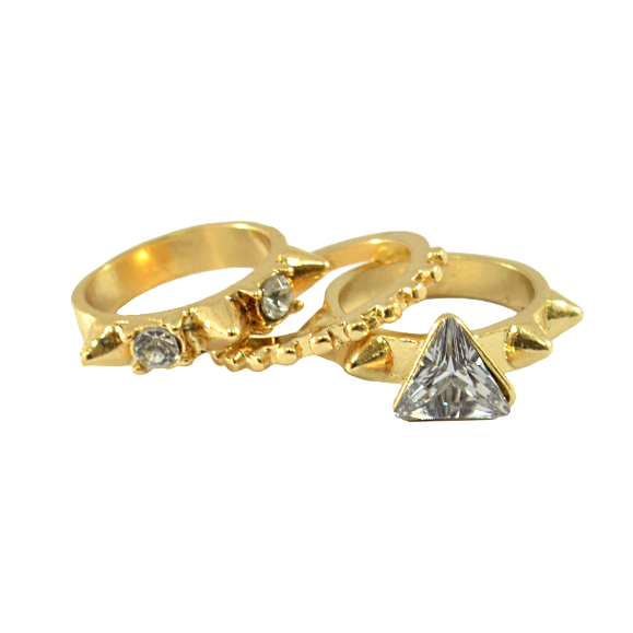 CRYSTAL WITH SPIKE RING SET - product image