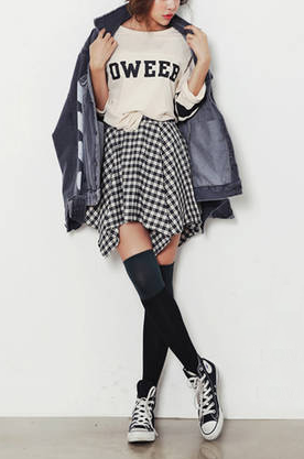 IRREGULAR CHECK SKIRT - product image