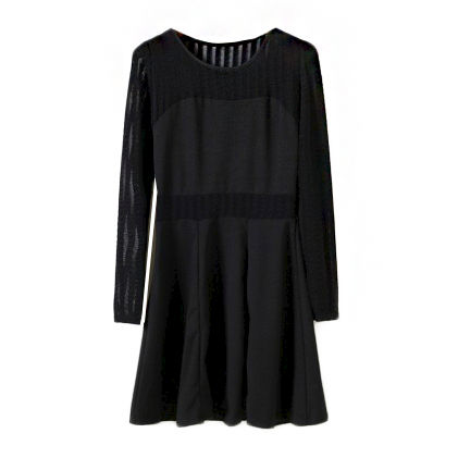 MESH INSERT STRIPES DRESS - product image