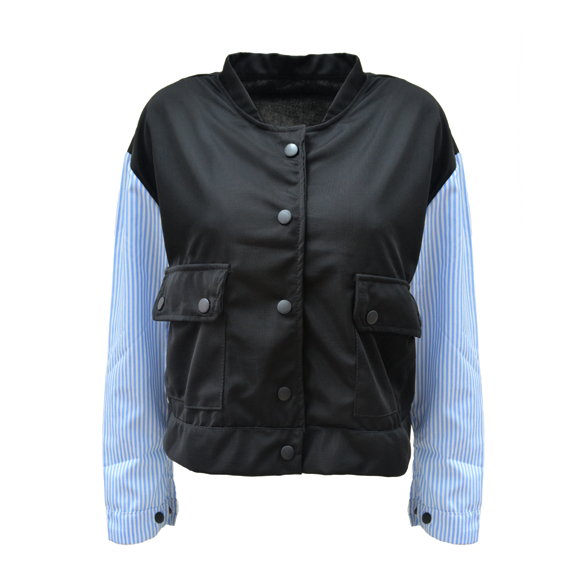 STRIPES SLEEVES BASEBALL JACKET - product image