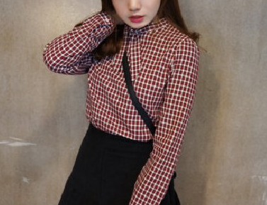 CHECK SHIRT WITH BOW COLLAR - product image