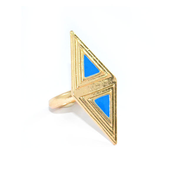 GOLD TONE RHOMBUS WITH BLUE TRIANGLE RING - product image