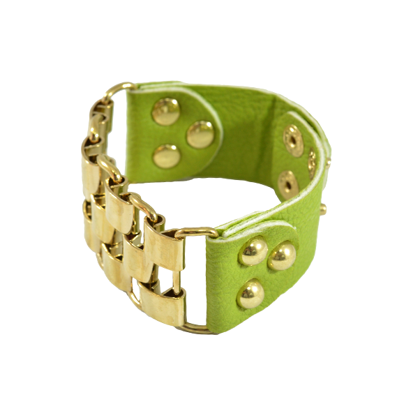 CUFF AND LEATHER LOOK BRACELET - product image