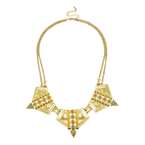AZTEC,PATTERN,CUTOUT,NECKLACE