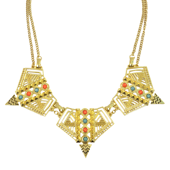 AZTEC PATTERN CUTOUT NECKLACE - product image