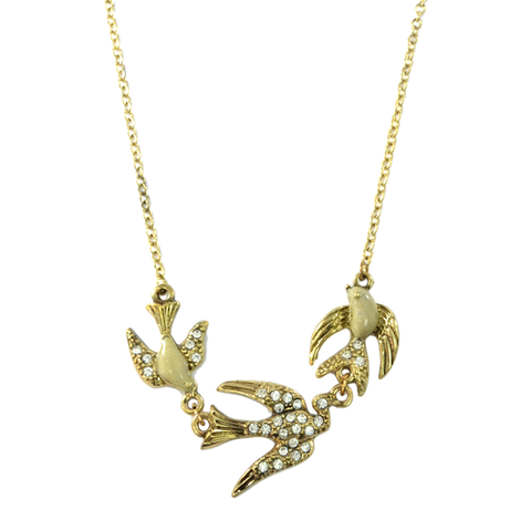 CRYSTAL,LOVE,BIRDS,NECKLACE
