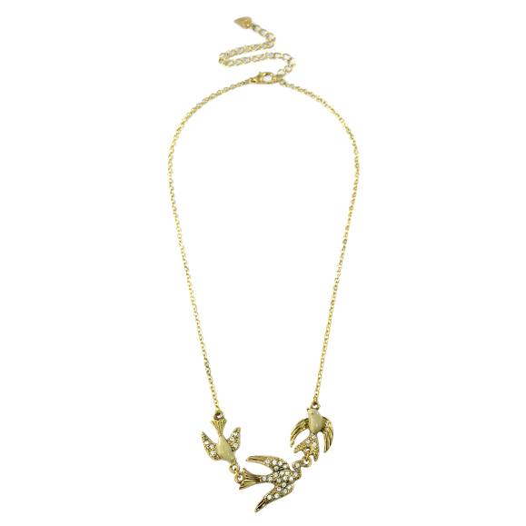 CRYSTAL LOVE BIRDS NECKLACE - product image