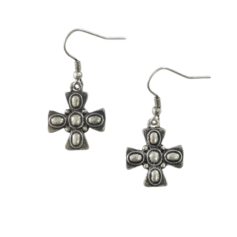 DOTTED,CROSS,EARRINGS
