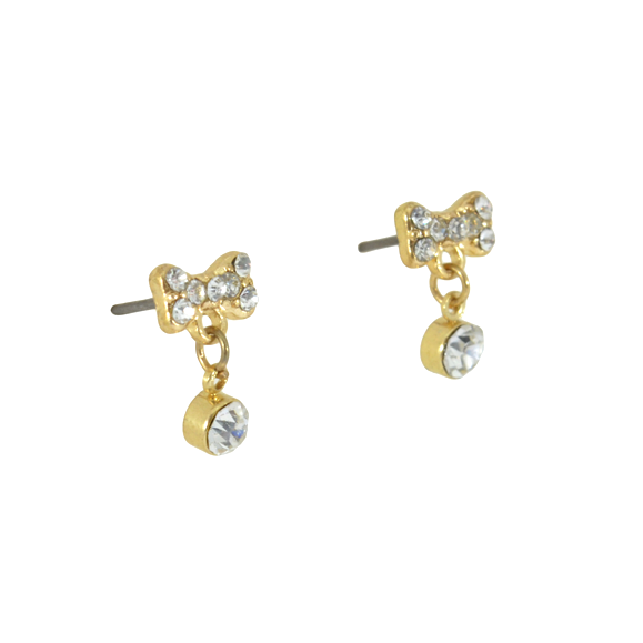 CRYSTAL BOW DROP EARRINGS - product image