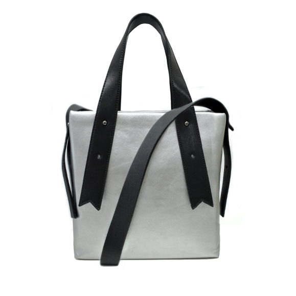 SILVER LEATHER SHOPPING BAG - product image