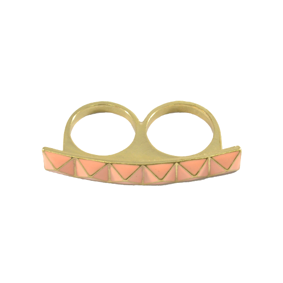 PINK PYRAMID DOUBLE RING - product image