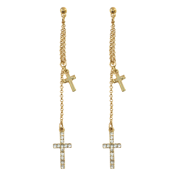 DOUBLE CROSS DROP EARRINGS - product image