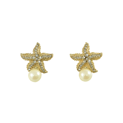 CRYSTAL,STARFISH,WITH,PEARL,EARRINGS