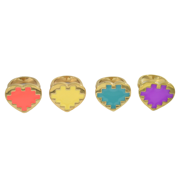 GOLD PIXEL HEART RING - product image