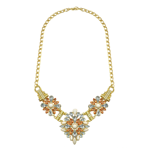 FLOWER,CRYSTAL,BIB,NECKLACE
