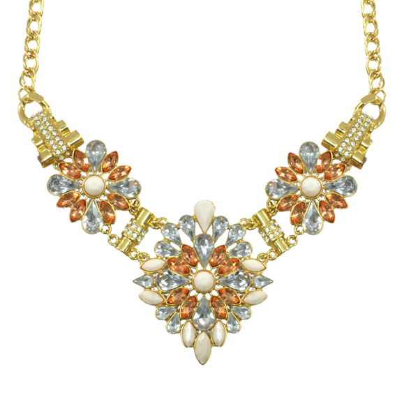 FLOWER CRYSTAL BIB NECKLACE - product image