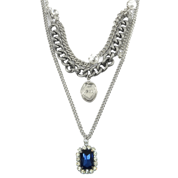 MULTI CHAIN WITH PEARL AND CHARM NECKLACE - product image
