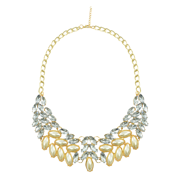 LEAF SHAPE CRYSTAL AND PEARL NECKLACE - product image