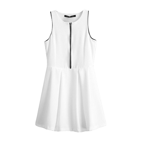 WHITE,VEST,DRESS,WITH,FRONT,ZIP