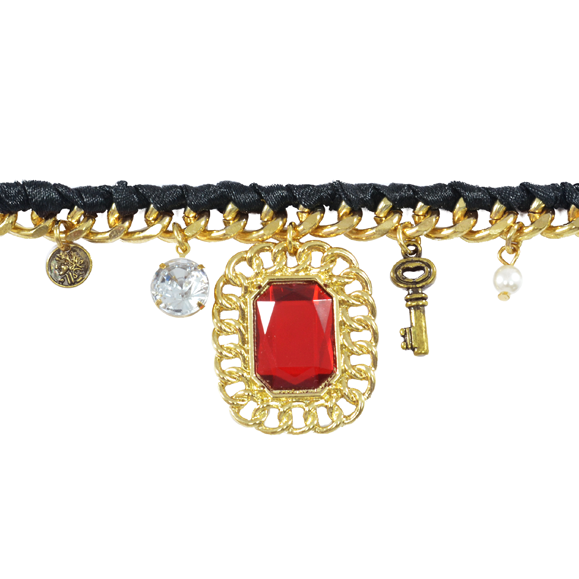 RED CRYSTAL WITH CHARM BRACELET - product image