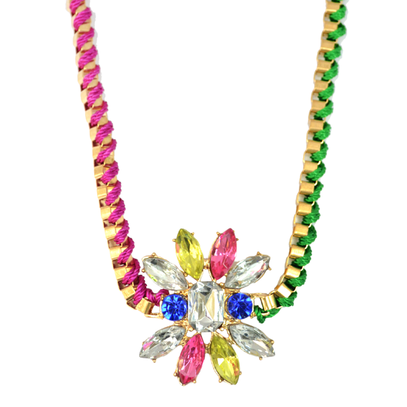 CRYSTAL FLORAL CHARM NECKLACE - product image