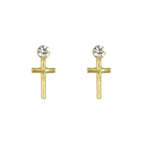 CRYSTAL,WITH,CROSS,EARRINGS