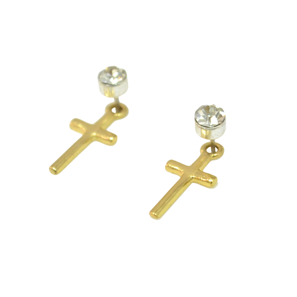 CRYSTAL WITH CROSS EARRINGS - product image