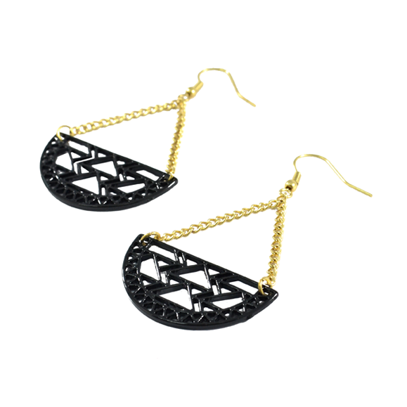 SEMI-CIRCLE AZTEC DROP EARRINGS - product image