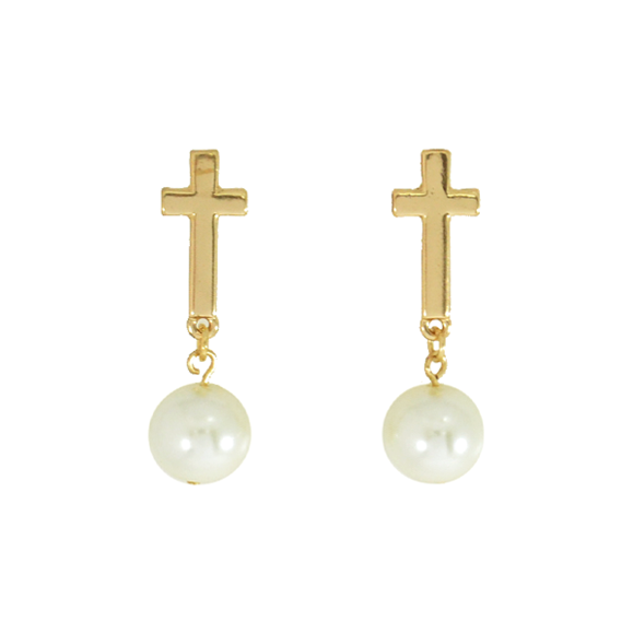 CROSS WITH PEARL DROP EARRINGS - product image