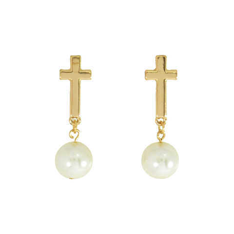 CROSS,WITH,PEARL,DROP,EARRINGS