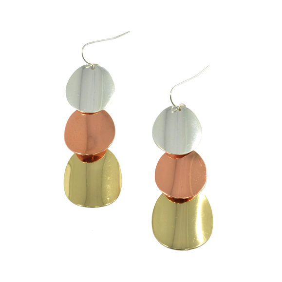 MULTI METALLIC FILM DROP EARRINGS - product image